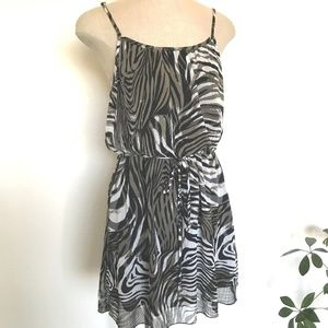 Poetry Dress L Brown Spaghetti Strap Zebra Print